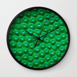 Green Curl Polyps Wall Clock