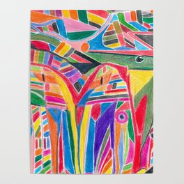 """colour jungle"" - tribal abstract art Poster"