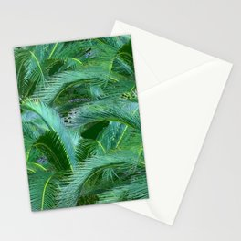 ABSTRACTED BLUE-GREEN TROPICAL PALMS GREEN ART Stationery Cards