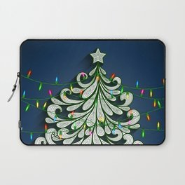 Christmas tree with colorful lights Laptop Sleeve