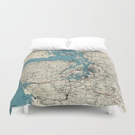 Vintage Map of The Puget Sound (1919) Duvet Cover