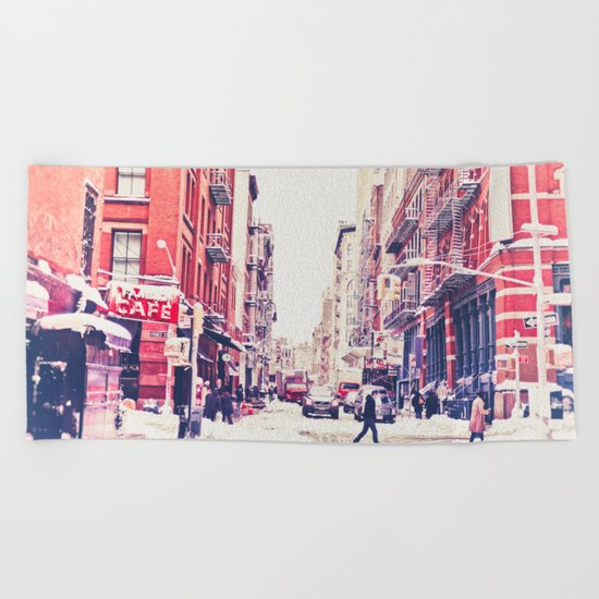 New York City Snow Soho Beach Towel