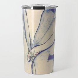"""Egon Schiele """"Rückenansicht eines Mädchens im blauen Rock (Back view of  a girl in a blue dress)"""" Travel Mug"""