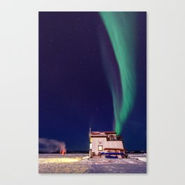 Northern Lights and house boat in Yellowknife Canvas Print