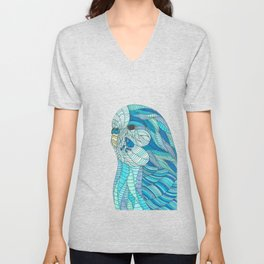 'Stained Glass Budgie' Ombre Blue Line work Geometric Illustrated Budgie Unisex V-Neck