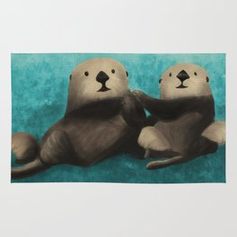 Sea Otters in Love Rug