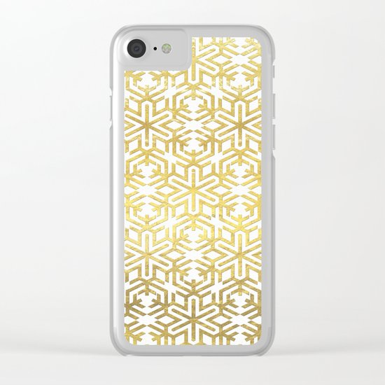 White and Gold Snowflake Pattern Clear iPhone Case