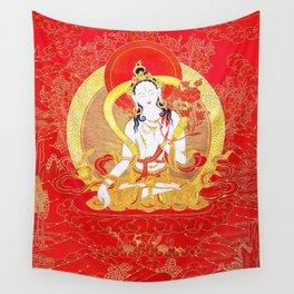 Gold Vajrayogini Red Thankga Wall Tapestry