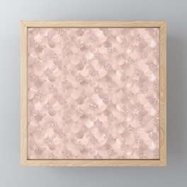 Glam Rose Gold Pink Mermaid Scallops Patterned Framed Mini Art Print