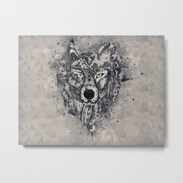 Geometric Wolf Mandala Metal Print