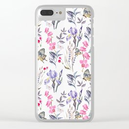 Pink lavender watercolor hand painted orchid floral butterfly Clear iPhone Case