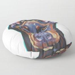 Fun Doberman Pinscher Dog Portrait bright colorful Pop Art by LEA Floor Pillow