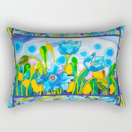 Blue Poppies 1 with Border Rectangular Pillow
