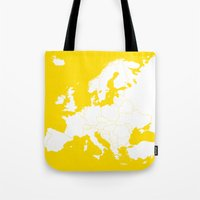 europe Tote Bags featuring EUROPE YELLOW by SebinLondon