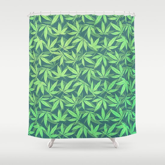 cannabis hemp 420 marijuana pattern shower curtain
