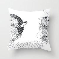boob Throw Pillows featuring boobicorn by Kira Leigh