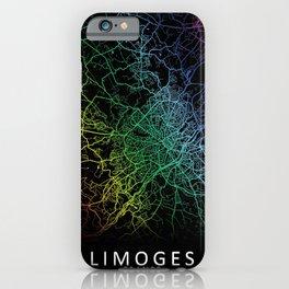 Limoges, France, City, Map, Rainbow, Map, Art, Print iPhone Case