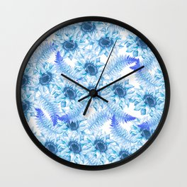 Artistic pastel blue purple watercolor hand painted floral Wall Clock