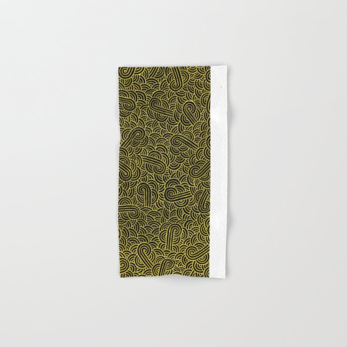 Black and faux gold swirls doodles Hand & Bath Towel