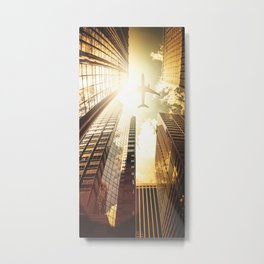 airplane in new york city Metal Print