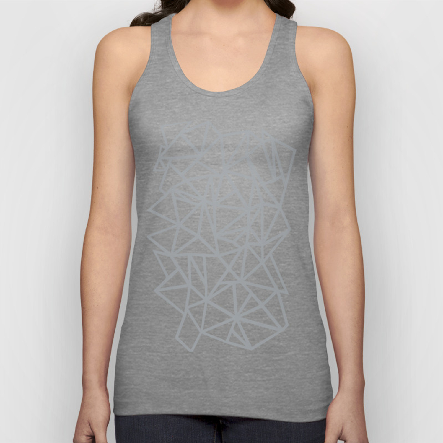 275b47637a53 Abstract Outline Thick White on Grey Unisex Tank Top by projectm | Society6