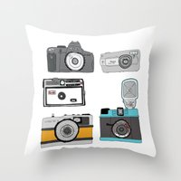 cameras Throw Pillows featuring Cameras by Josh Ross