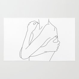 Woman's body line drawing illustration - Dahl Rug