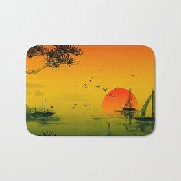 Japanese Sunset Oriental Asian Style Art Bath Mat