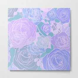 Preppy Purple and Seafoam Green Abstract Contemporary Romantic Roses Metal Print