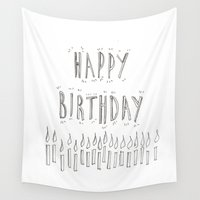 happy birthday Wall Tapestries featuring Happy Birthday by Daam