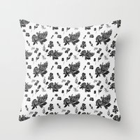 vintage floral Throw Pillows featuring VINTAGE FLORAL by Kiley Victoria