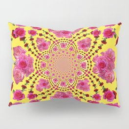 PINK-RED ROSES ON YELLOW-PINK ART Pillow Sham