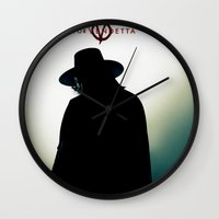 vendetta Wall Clocks featuring V for Vendetta (e4) by Ezgi Kaya