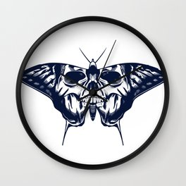 Skull On Butterfly Wings Wall Clock