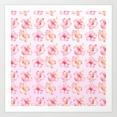 Peach Pink Hibiscus Tropical Flowers Art Print