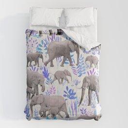 Sweet Elephants in Aqua, Purple, Cream and Grey Comforters