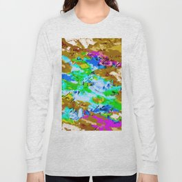 psychedelic splash painting abstract texture in brown green blue pink Long Sleeve T-shirt