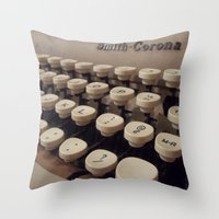 writer Throw Pillows featuring Type Writer by Chelsea Gibson