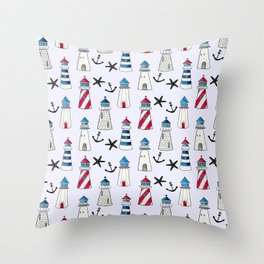 Watercolor Lighthouses Throw Pillow
