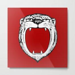 Tiger Head Red Metal Print