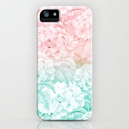 Modern white pink teal ombre hortensia floral iPhone Case