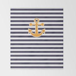 Blue , white , striped Throw Blanket