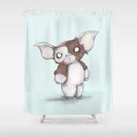 gizmo Shower Curtains featuring Gizmo Plushie by Ludwig Van Bacon