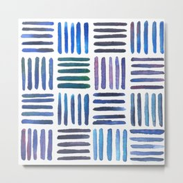 Lines in Blue Metal Print
