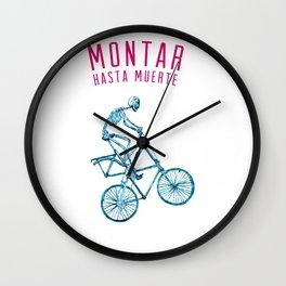 """Skeleton Bike - """"Montar Hasta Muerte"""" Wall Clock"""