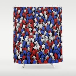 Red blue white hockey players Shower Curtain