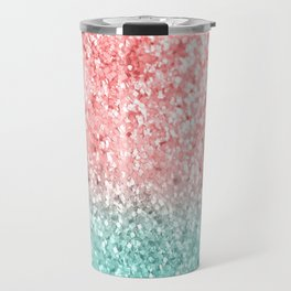 Summer Vibes Glitter #3 #coral #mint #shiny #decor #art #society6 Travel Mug