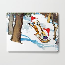 Calvin Hobbes Christmas Metal Print