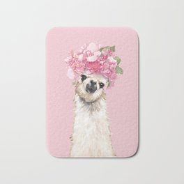 Llama with Flower Crown Bath Mat