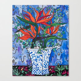 Birds of Paradise in Blue After Matisse Canvas Print